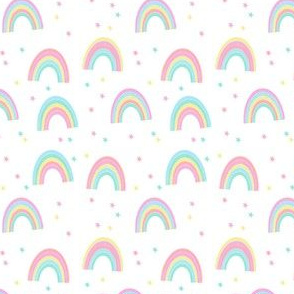 pastel rainbow fabric - cute girls baby nursery baby design - white