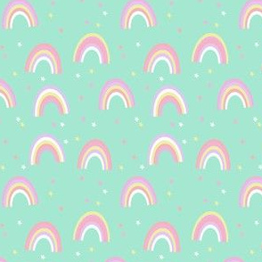 pastel rainbow fabric - cute girls baby nursery baby design - mint