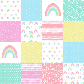 "rainbow cheater quilt - 6"" quilt squares - wholecloth patchwork crib blanket baby girl pastel baby fabric"