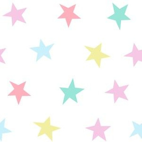 pastel star fabric - stars, magical, pastel, girls, baby, star dream fabric