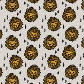 lion head fabric // mustard and grey lion design - boys fabric (smaller)