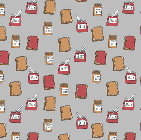 peanut butter and jelly fabric // pbj food snack food kids food cute design (smaller) fabric by andrea_lauren on Spoonflower - custom fabric