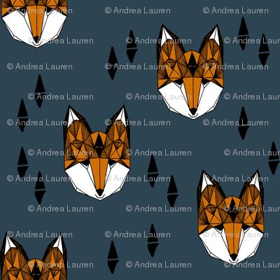 fox head fabric // boys geometric fox head design baby nursery foxes (smaller)