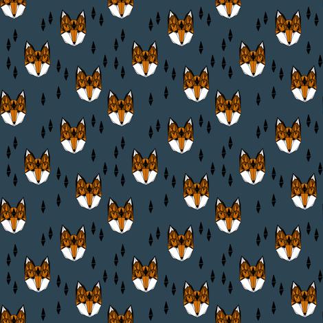 fox head fabric // boys geometric fox head design baby nursery foxes (smaller) fabric by andrea_lauren on Spoonflower - custom fabric