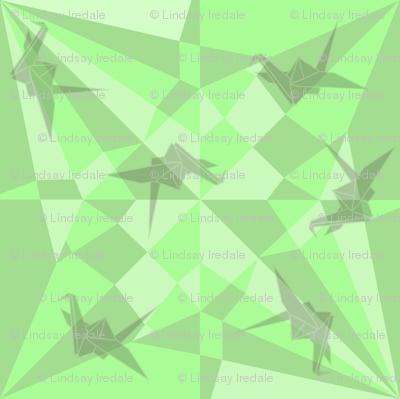 constructed deconstructed crane in green