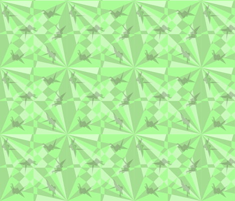 constructed deconstructed crane in green fabric by groundnut_apiary on Spoonflower - custom fabric