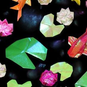 Paper Pond - Origami Koi + Waterlillies