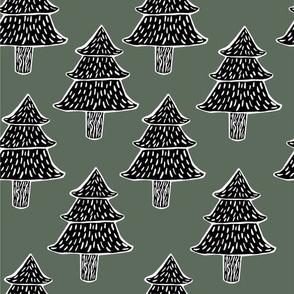 Pine Woodcut
