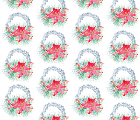 Pointsetta Wreath Color fabric by jvclawrence on Spoonflower - custom fabric