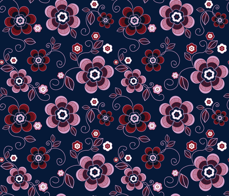Navy Orchid Floral fabric by natalie-k on Spoonflower - custom fabric