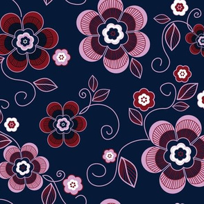 Navy Orchid Floral