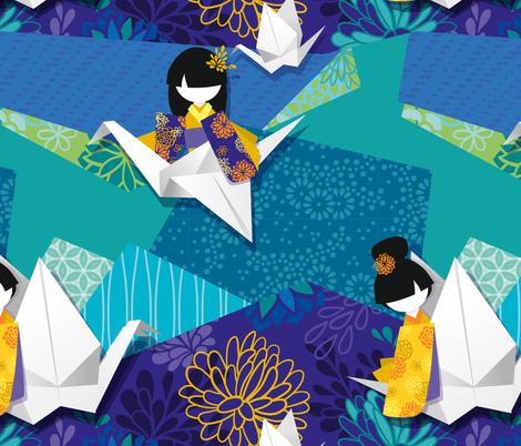 origami & kokeshi fabric by elodie-lauret on Spoonflower - custom fabric