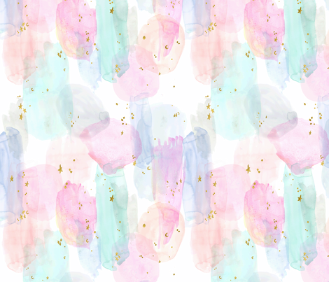 Rainbow-Stars-Watercolor-Abstract_Small fabric by crystal_walen on Spoonflower - custom fabric