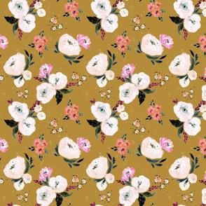 Janice Floral M - mustard
