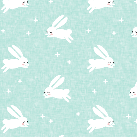 bunnies on dark mint fabric by littlearrowdesign on Spoonflower - custom fabric
