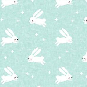bunnies on dark mint