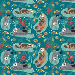 Otters sleeping in the waves // sweet lullaby