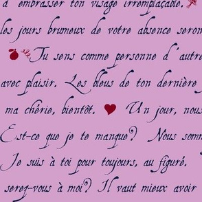 lettre d'amour griffonnage orchid marine burgundy