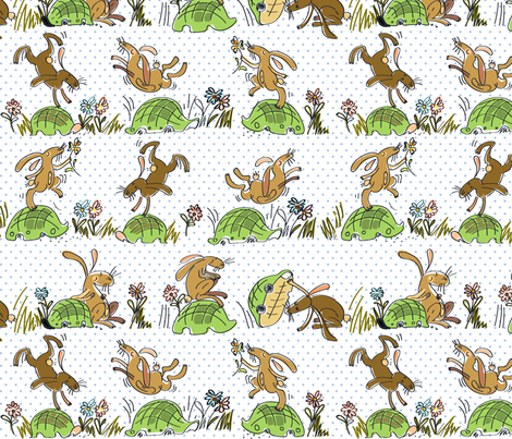 Run run Tortoise! Run run Hare! fabric by pikku_susi on Spoonflower - custom fabric