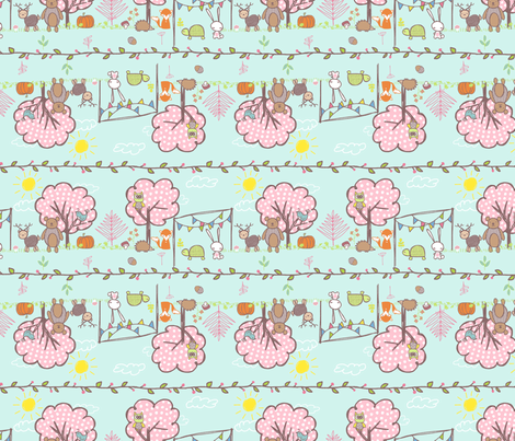 Tortoise and Hare 4 fabric by ningwatson on Spoonflower - custom fabric