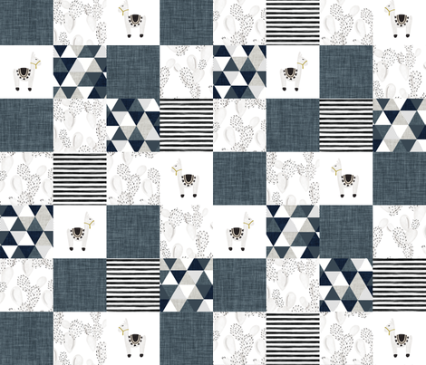watercolor llamas patchwork wholecloth // slate and navy fabric by ivieclothco on Spoonflower - custom fabric