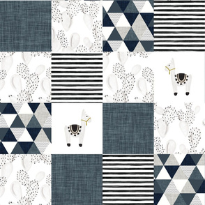watercolor llamas patchwork wholecloth // slate and navy