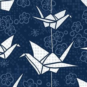Blue Monochrome Origami Cranes