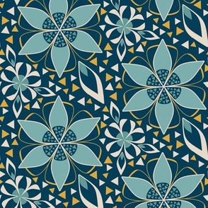 Large Geometric Floral Print with Triangles in Teal, Indigo, and Gold Art Deco Style by Amborela