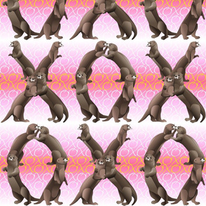 Otters Hugs and Kisses Pink