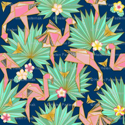 Flamingami Ori-topia//Flamingo Origami Utopia (navy)
