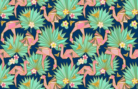 Flamingami Ori-topia//Flamingo Origami Utopia (navy)  fabric by helenpdesigns on Spoonflower - custom fabric