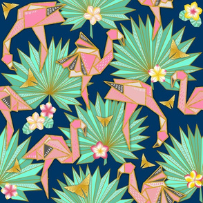 Flamingami Ori-topia//Flamingo Origami Utopia (navy)