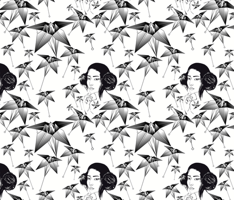 ORIGAMI ASIA FLOVERS fabric by irishamamonovaart on Spoonflower - custom fabric