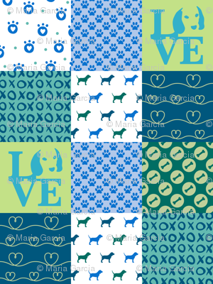 Cheater Quilt Beagle Blue Dog