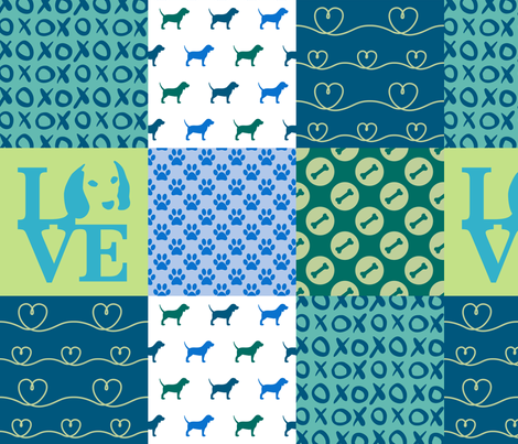 Cheater Quilt Beagle Blue Dog fabric by mariafaithgarcia on Spoonflower - custom fabric