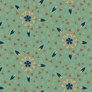 Triangles and Flowers in Orange and Green Art Deco Style