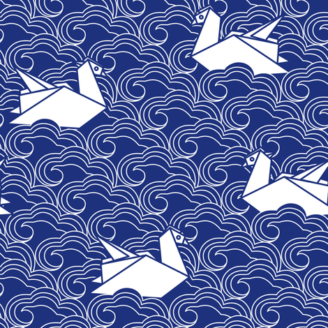 Origami mandarin duck fabric by olgart on Spoonflower - custom fabric