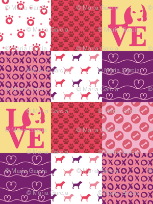 Cheater Quilt Beagle Pink