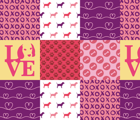Cheater Quilt Beagle Pink fabric by mariafaithgarcia on Spoonflower - custom fabric