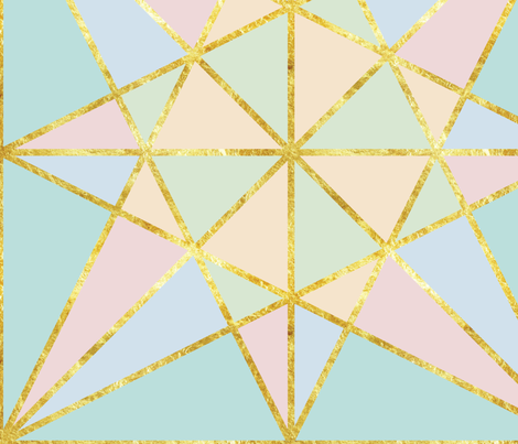 origami fold pastel with gold large-01 fabric by stargazingseamstress on Spoonflower - custom fabric
