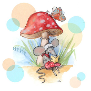 Cute mouse reading yellow story under red mushroom