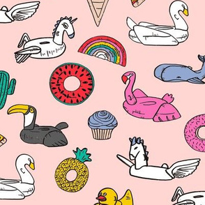 pool floats // summer fun beach backyard pool party fabric pink with brights
