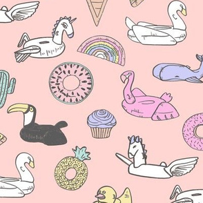 pool floats // summer fun beach backyard pool party fabric pink