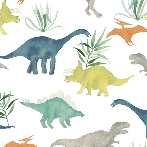 Custom Dinos with Leaves big fabric by mintpeony on Spoonflower - custom fabric