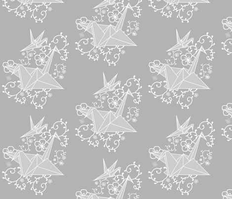 Origami Paper Cranes  fabric by thepeachtree on Spoonflower - custom fabric