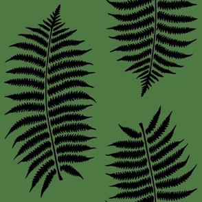 Large Black Fern Leaf Silhouettes on Fern Green