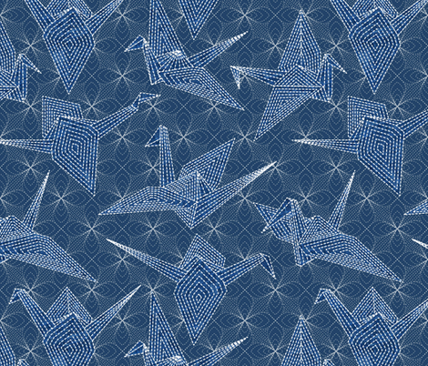 sashiko blue cranes  fabric by vo_aka_virginiao on Spoonflower - custom fabric