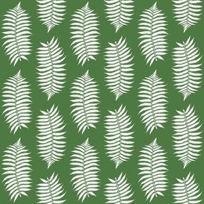 Medium White Fern Leaf Silhouettes on Fern Green