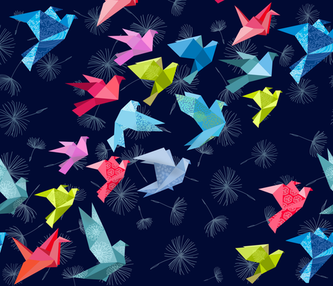 ORIGAMI BIRDS IN FLIGHT fabric by honoluludesign on Spoonflower - custom fabric