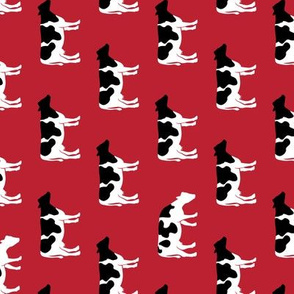 cows on red - farm fabric (90)